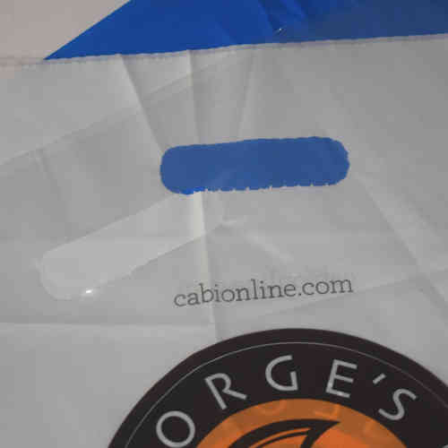 Handle poly bags produced by California Plastix
